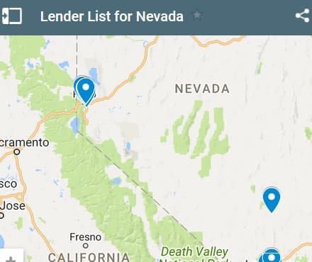 Nevada Bad Credit Lenders Map - Initial Static Image