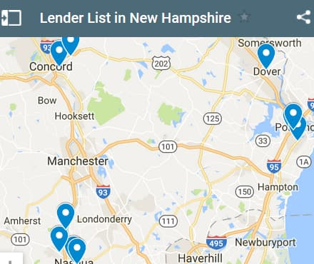 New Hampshire Bad Credit Lenders Map - Initial Static Image