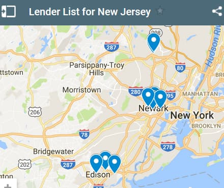 New Jersey Bad Credit Lenders Map - Initial Static Image