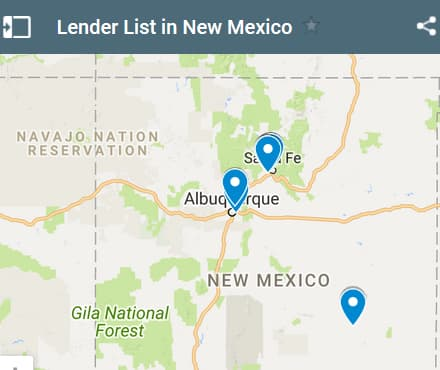 New Mexico Bad Credit Lenders Map - Initial Static Image