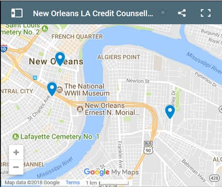 New Orleans Credit Counsellors Map - Initial Static Image