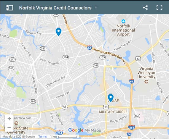 Norfolk Credit Counsellors Map - Initial Static Image