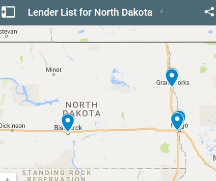 North Dakota Bad Credit Lenders Map - Initial Static Image