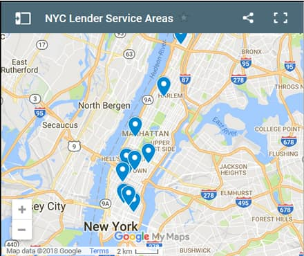 New York City Bad Credit Lenders Map - Initial Static Image