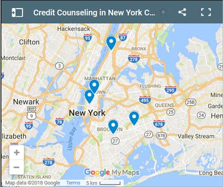 New York City Credit Counsellors Map - Initial Static Image