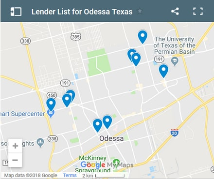 Odessa Bad Credit Lenders Map - Initial Static Image