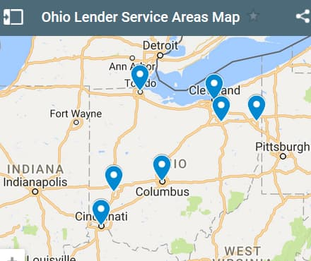 Ohio Bad Credit Lenders Map - Initial Static Image