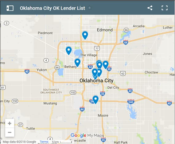 Oklahoma City Bad Credit Lenders Map - Initial Static Image