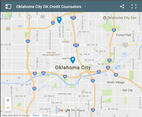 Oklahoma City Credit Counsellors Map - Initial Static Image