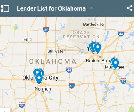 Oklahoma Bad Credit Lenders Map - Initial Static Image