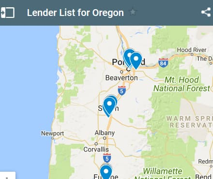 Oregon Bad Credit Lenders Map - Initial Static Image