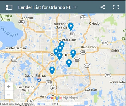 Orlando Bad Credit Lenders Map - Initial Static Image