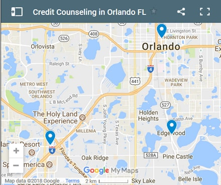 Orlando Credit Counsellors Map - Initial Static Image