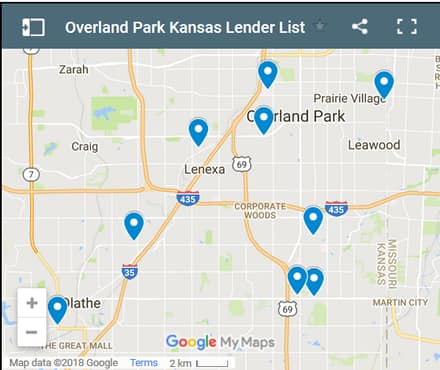 Overland Park Bad Credit Lenders Map - Initial Static Image