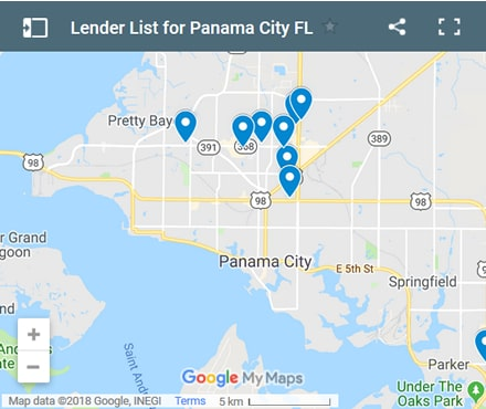 Panama City Bad Credit Lenders Map - Initial Static Image