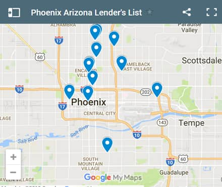 Phoenix Bad Credit Lenders Map - Initial Static Image