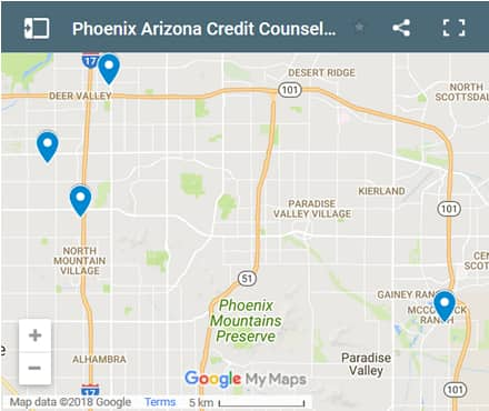 Phoenix Credit Counsellors Map - Initial Static Image