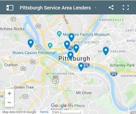 Pittsburgh Bad Credit Lenders Map - Initial Static Image