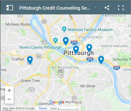 Pittsburgh Credit Counsellors Map - Initial Static Image