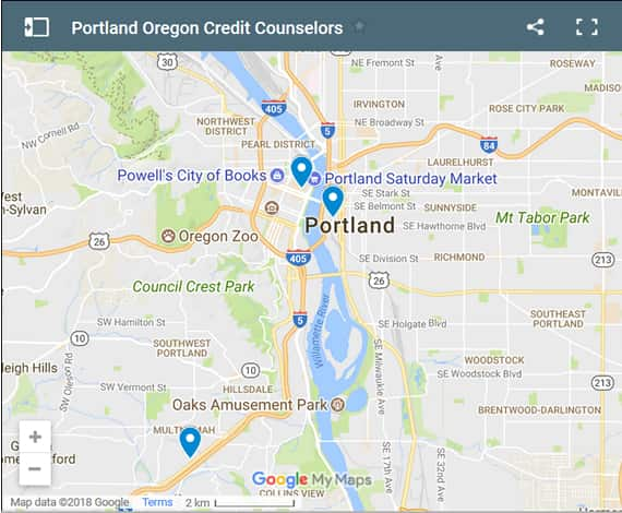 Portland Credit Counsellors Map - Initial Static Image