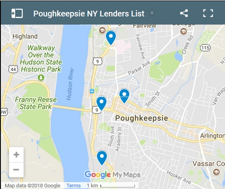 Poughkeepsie Bad Credit Lenders Map - Initial Static Image