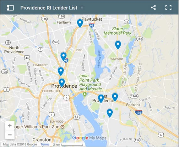 Providence Bad Credit Lenders Map - Initial Static Image