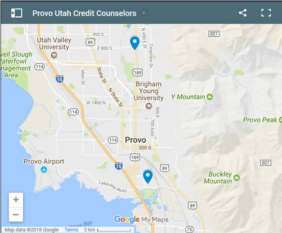 Provo Credit Counsellors Map - Initial Static Image