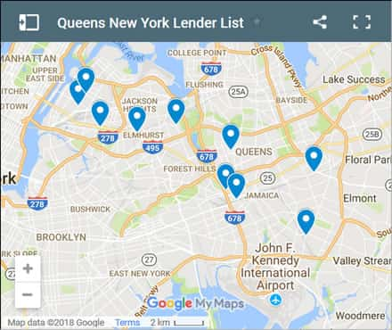 Queens Bad Credit Lenders Map - Initial Static Image