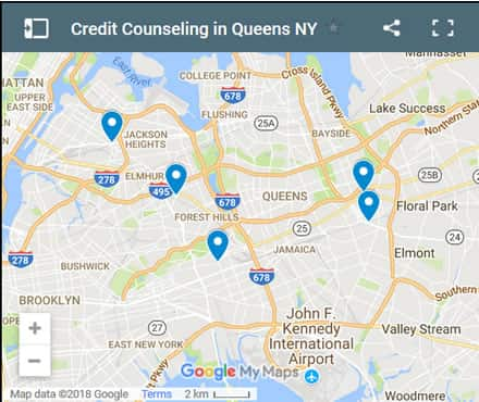Queens Credit Counsellors Map - Initial Static Image