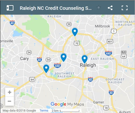 Raleigh Credit Counsellors Map - Initial Static Image