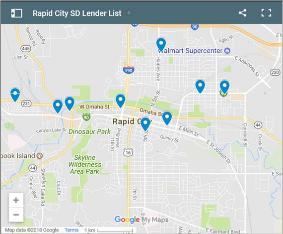 Rapid City Bad Credit Lenders Map - Initial Static Image