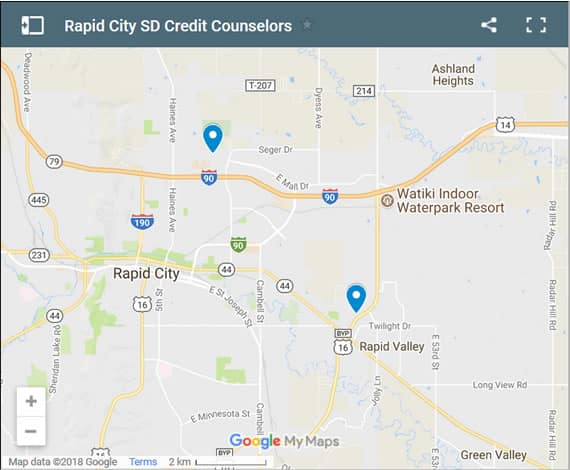 Rapid City Credit Counsellors Map - Initial Static Image