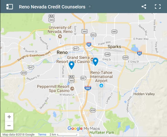 Reno Credit Counsellors Map - Initial Static Image