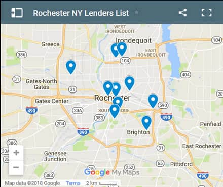 Rochester Bad Credit Lenders Map - Initial Static Image
