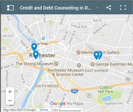 Rochester Credit Counsellors Map - Initial Static Image
