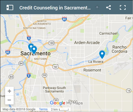 Sacramento Credit Counsellors Map - Initial Static Image