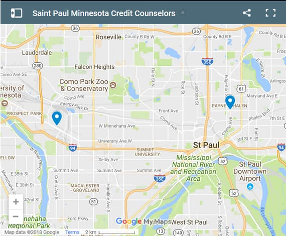 Saint Paul Credit Counsellors Map - Initial Static Image