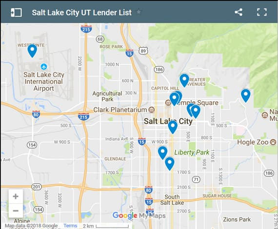 Salt Lake City Bad Credit Lenders Map - Initial Static Image
