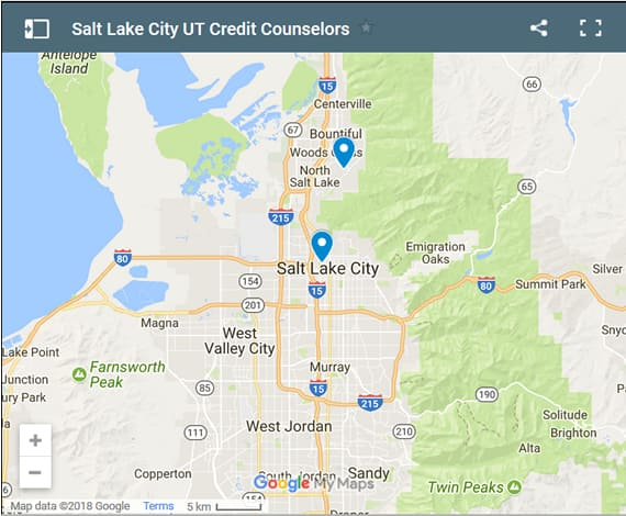 Salt Lake City Credit Counsellors Map - Initial Static Image