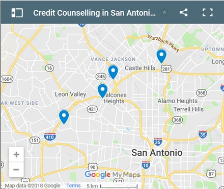 San Antonio Credit Counsellors Map - Initial Static Image