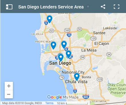 San Diego Bad Credit Lenders Map - Initial Static Image