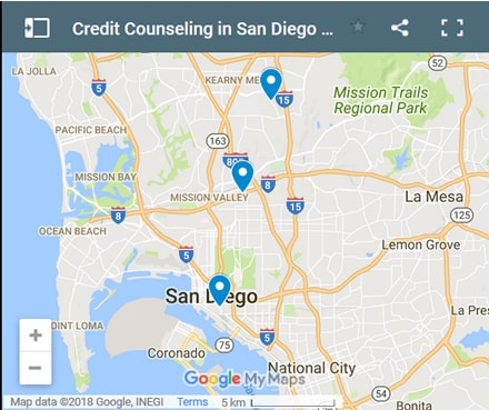 San Diego Credit Counsellors Map - Initial Static Image