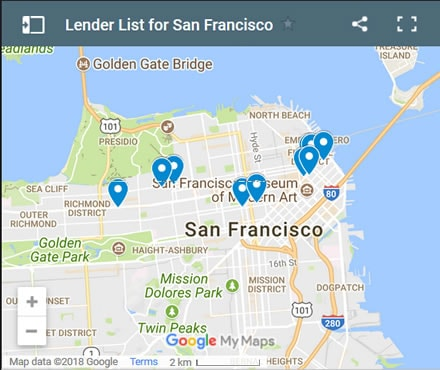 San Francisco Bad Credit Lenders Map - Initial Static Image