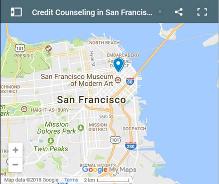 San Francisco Credit Counsellors Map - Initial Static Image
