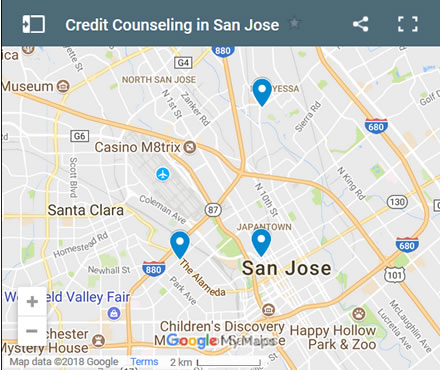San Jose Credit Counsellors Map - Initial Static Image