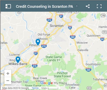Scranton Credit Counsellors Map - Initial Static Image