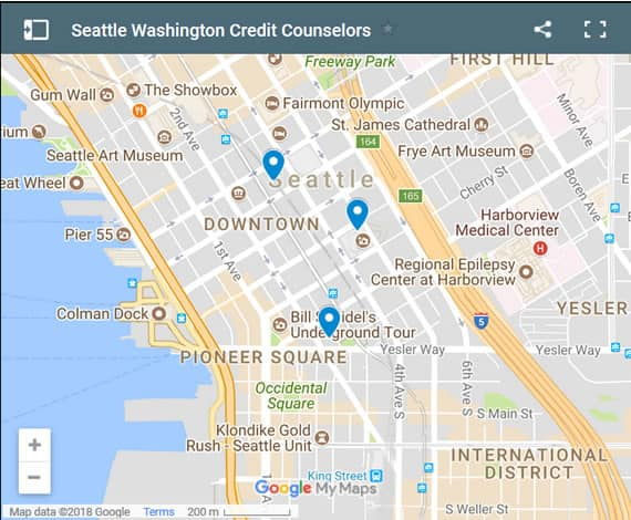 Seattle Credit Counsellors Map - Initial Static Image