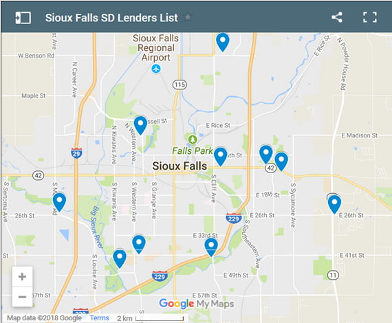 Sioux Falls Bad Credit Lenders Map - Initial Static Image