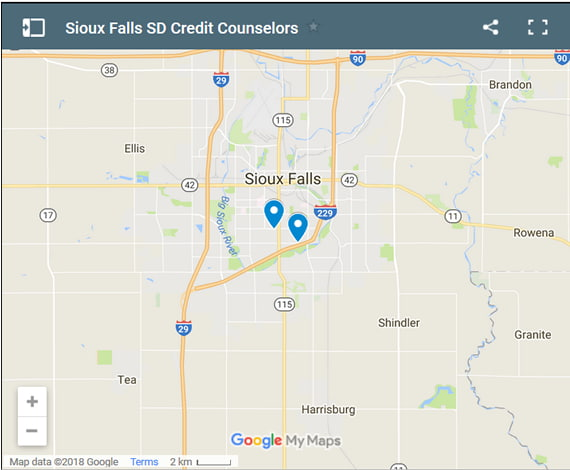 Sioux Falls Credit Counsellors Map - Initial Static Image