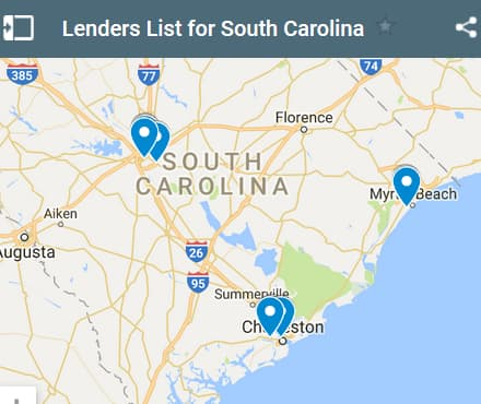 South Carolina Bad Credit Lenders Map - Initial Static Image